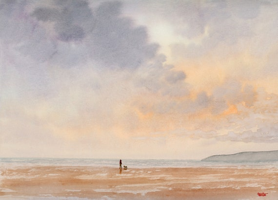 Original watercolour painting, 'Peachy Dawn'  figure and dog walking on beach, 32 cm x 24 cm watercolor,  direct from the artist in UK