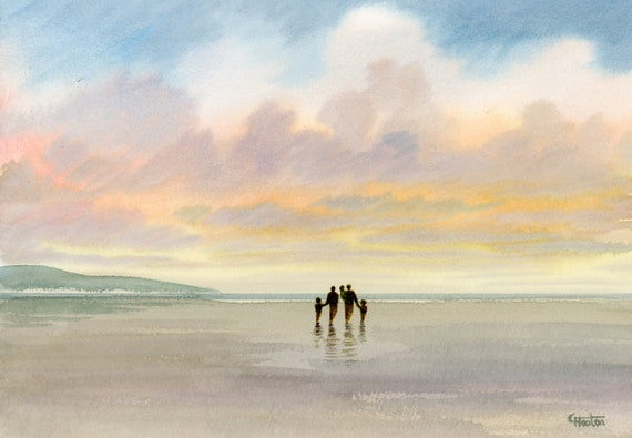 "Original watercolour painting, 'Our Family' couple and 3 children on beach, A4 size 297mm x 214mm (11.5"" x 8.25"") watercolor unique gift Dad"