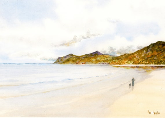 Morfa Nefyn Beach, Hand finished and personalised very limited edition print on watercolour paper, figure and dog on Nefyn beach art gift