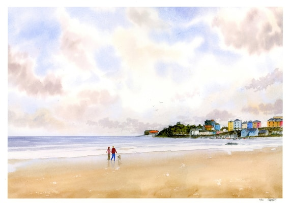 Tenby, Hand finished very limited edition print on watercolour paper, couple and dog on beach, Tenby harbour from North Beach Pembrokeshire