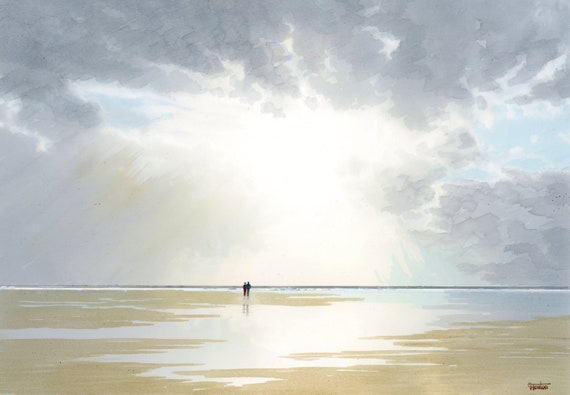 Original A4 size watercolour painting 'Sunburst', distant couple on beach,  artwork direct from the artist in UK, sea, sunbeams, water art