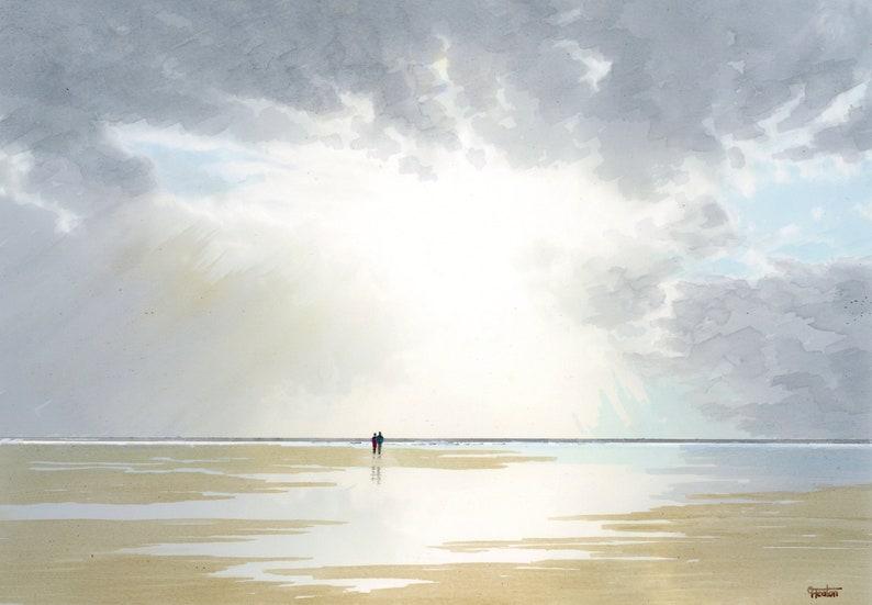 Original A4 size watercolour painting 'Sunburst' image 0