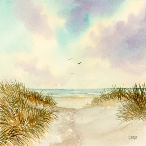 Square small original watercolour painting, Crosby beach.  Lovely, peaceful and unique watercolor art gift direct from the artist, England