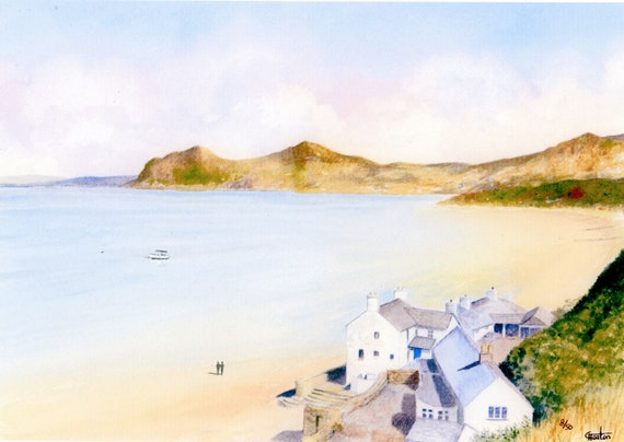 Morfa Nefyn Beach, Hand finished and personalised very limited edition print on watercolour paper, distant figures on beach hand painted