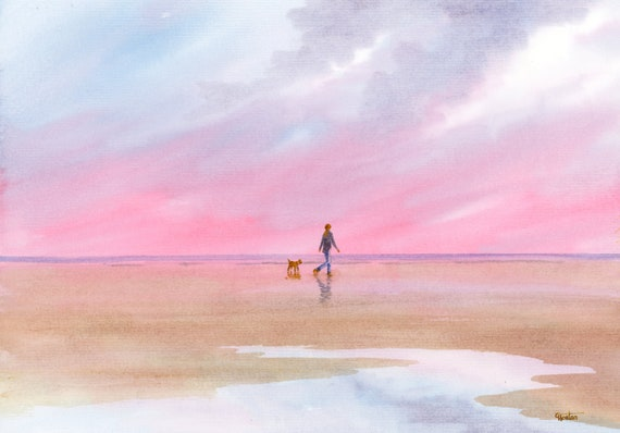 Original watercolour painting, 'A Perfect Morning' girl walking dog on beach, A4 size 297mm x 214mm  watercolor unique gift direct from UK