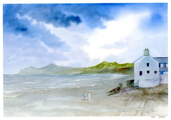 Morfa Nefyn Beach, Hand finished very limited edition print on watercolour paper, Couple on beach unique art gift, Llyn Peninsula, Wales