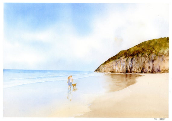 New for 2021 hand painted couple and dog on beach  'Pendine Sands', hand finished very limited edition print on watercolour paper