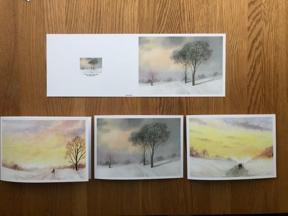 Art Christmas cards direct from the artist.  Art cards for sending or framing. Snow scenes with trees, people, dogs, child, sunset winter