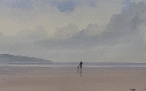 "Original watercolour painting, 'Fond Memories' figure and child on beach, 280mm x 185mm (11"" x 7.25"") watercolor unique gift"