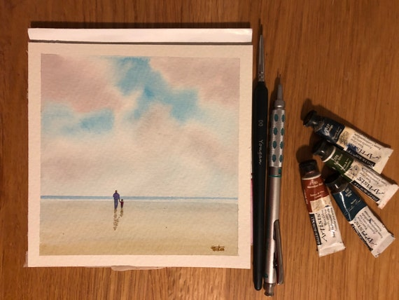 Square small original watercolour beach painting,  Man and child on beach,  affordable hand painted delicate watercolor gift,  Dad, Grandad