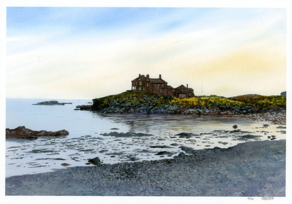 A3 size Craig-y-mor, Trearddur Bay, Anglesey, Wales, very limited edition print on archival paper, from an original watercolour painting