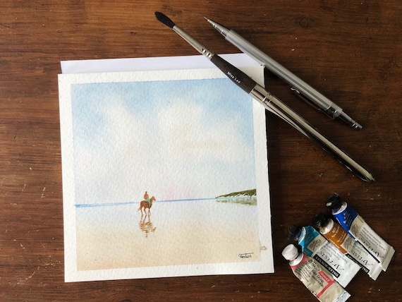Square small original watercolour beach painting,  figure and horse on beach,  affordable hand painted delicate watercolor gift, England UK
