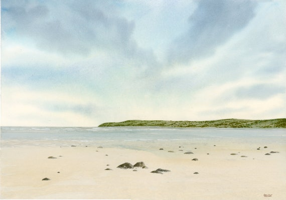 Original A3 watercolour painting Red Wharf Bay, Anglesey,  Wales. Traeth Coch Watercolor art direct from UK artist Gillian Heaton