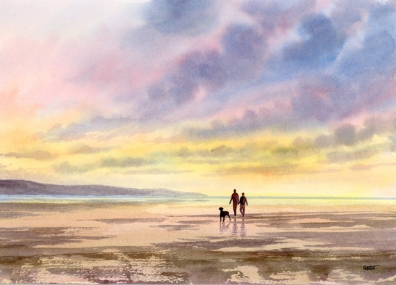 Original watercolour painting, Couple and dog on sunset beach, A4 size watercolor art direct from the artist in England, UK.
