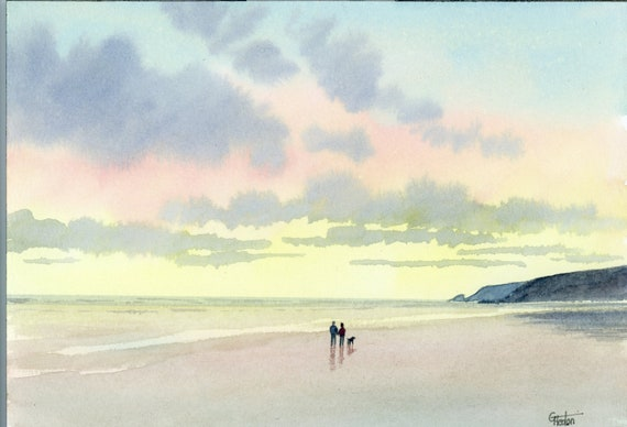 Original small A5 watercolour beach painting, couple and dog on beach, romantic watercolor art gift direct from the artist in England UK