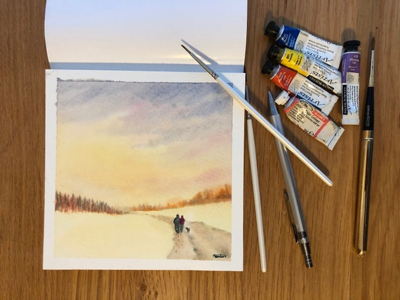 Square small original watercolour winter scene painting,  original art, couple and dog in the snow, affordable hand painted watercolor gift