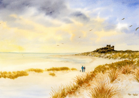Bamburgh Castle, Hand finished and personalised very limited edition print on watercolour paper, couple and dog on beach unique art gift