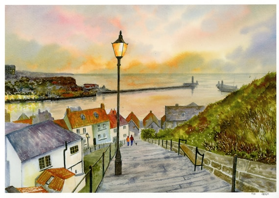 Whitby, hand finished very limited edition print from a watercolour painting, Couple and Dog, signed and numbered '199 Steps, Whitby'
