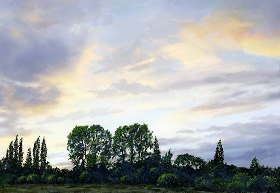 Original watercolour and archival ink painting 'Cutacre Trees', trees at sunset artwork Over Hulton near Bolton A4 size original art from UK