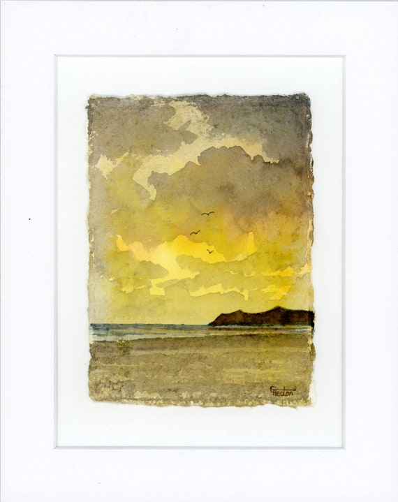"""Nefyn Sunrise, Original mounted deckled edged watercolour beach painting on handmade paper, Llyn Peninsula, Wales, mounted for 10"""" x 8"""""""