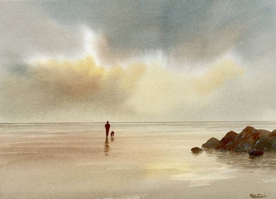 "Original watercolour painting, Porth Tyn Tywyn, Anglesey,  figure and dog on beach, 210 x 297 mm (11.7"" x 8.3"") A4  watercolor, art gift"