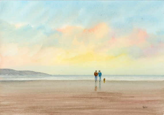 Original watercolour painting, couple and dog on beach, A4 size watercolor, original art gift from the artist England UK. Pomeranian, Spitz