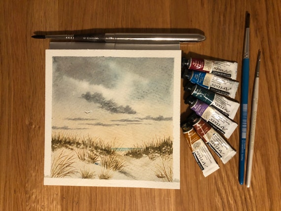 Sand Dunes, Ainsdale Beach.  Square small original watercolour beach painting, Southport hand painted watercolor art gift, England UK artist