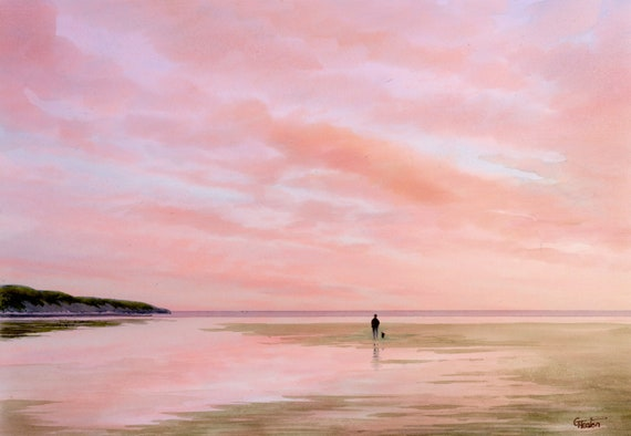 Original watercolour painting, 'Evening Pink', figure and dog on beach, A4 size watercolor, original art gift direct from the artist in UK