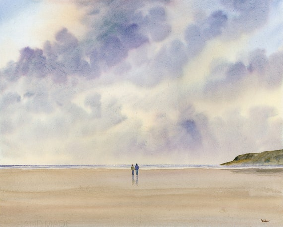 "Original large 20"" x 16"" watercolour painting 'Red Wharf Skies' on 100% cotton watercolor paper deckled edges, couple on beach, unique art"