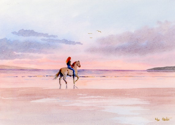 Horse rider on beach, Hand painted and finished very limited edition print on watercolour paper, 'Twilight Ride' unique art gift, horses