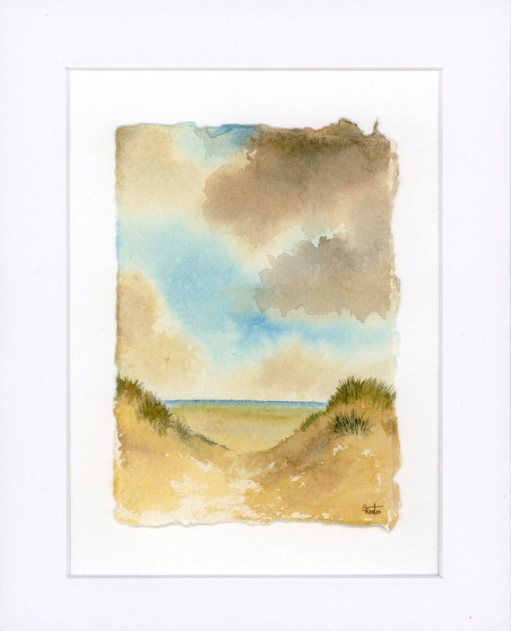 "Original mounted deckled edged watercolour beach painting on handmade paper, Formby beach sand dunes near Southport, mounted for 10"" x 8"""