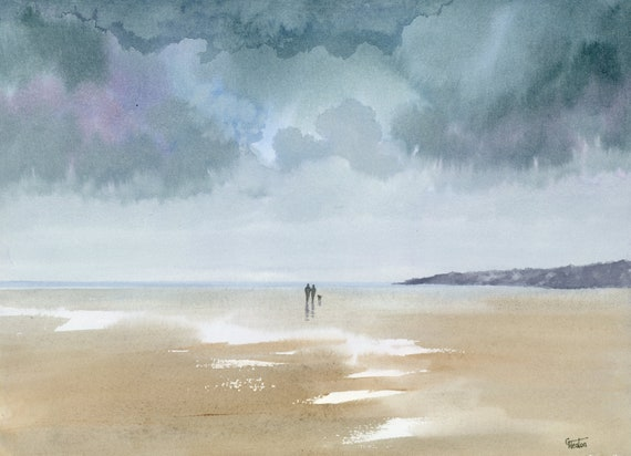 "Original watercolour painting,  Couple and dog on stormy Anglesey beach, 30 x 24 cm (11.8"" x 9.4"") watercolor, romantic art gift, valentine"