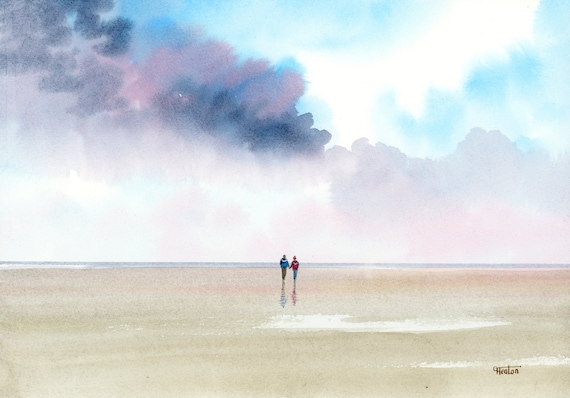 Original watercolour painting, couple on stormy beach A4 size watercolor, original romantic art gift direct from the artist in England UK