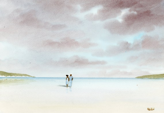 Original romantic watercolour painting, 'Forever And A Day' couple on beach, A4 size 297mm x 214mm  watercolor unique gift, black couple