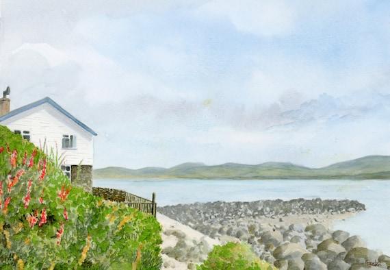 Porthdinllaen Coastal Path, an original watercolour painting A4 size beach path watercolor, Llŷn Peninsula, Wales, original art from UK