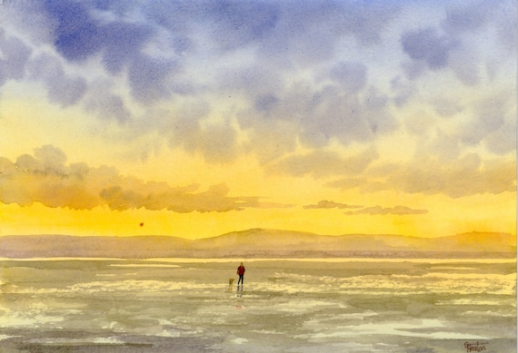 Original small A5 watercolour beach painting, West Kirby beach, figure and dog at sunset watercolor art gift direct from the artist UK