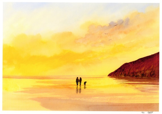 New for 2021 hand painted couple and dog on sunset beach, hand finished very limited edition print on watercolour paper, Pendine Sunset art