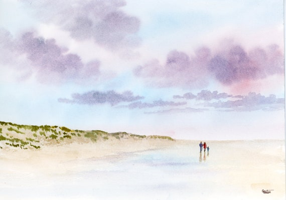 Original watercolour painting, couple and child on Formby beach, A4 size watercolor art direct from the artist in England, UK. Our Family
