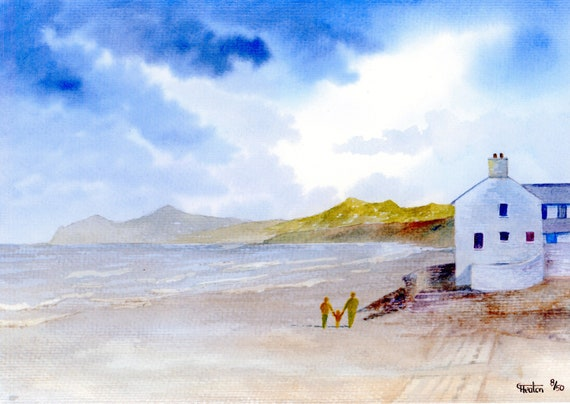 Morfa Nefyn Beach, Hand finished and personalised very limited edition print on watercolour paper, couple and child on beach unique art gift