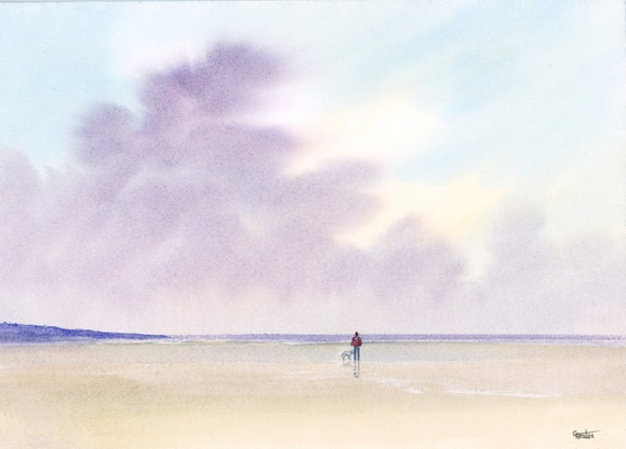 Original watercolour painting, distant figure and Bedlington terrier dog on beach, A4 size watercolor art direct from the artist in England