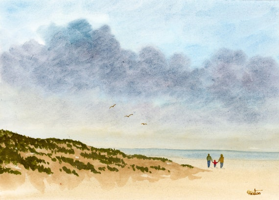 Original small watercolour beach painting, couple and child on beach, hand painted watercolor gift A5 Size, UK artist.  Sand Dunes, storm