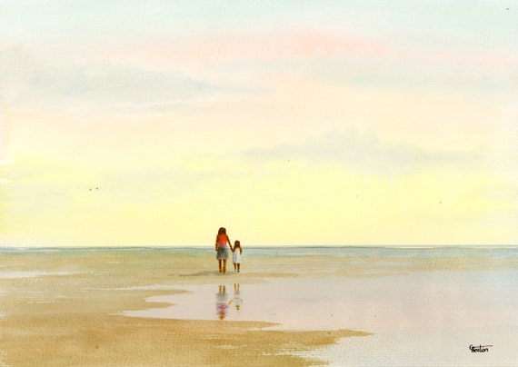 Original watercolour painting, 'Cherish' mother and child on beach, A4 size watercolor, original art direct from artist in England UK. Mum
