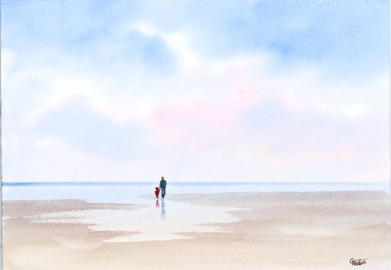 Original small watercolour beach painting 'Daddy's Girl'  man and child on beach, original art direct from artist in UK.  Watercolors