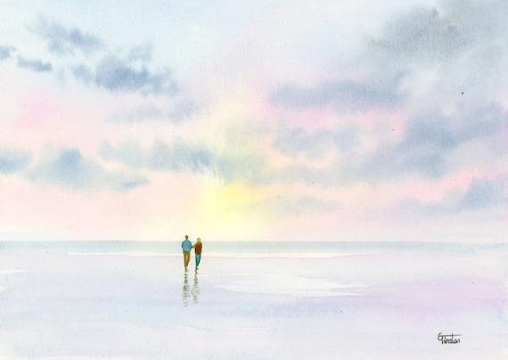 Original small A5 size watercolour beach painting 'Love Light'  original romantic art, couple on beach in pastel shades, watercolor art