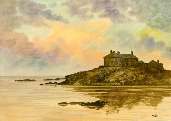 Original watercolour painting Trearddur Bay Sunset, Craig Y Mor, Anglesey Wales A4 size watercolor,  art gift direct from the artist UK