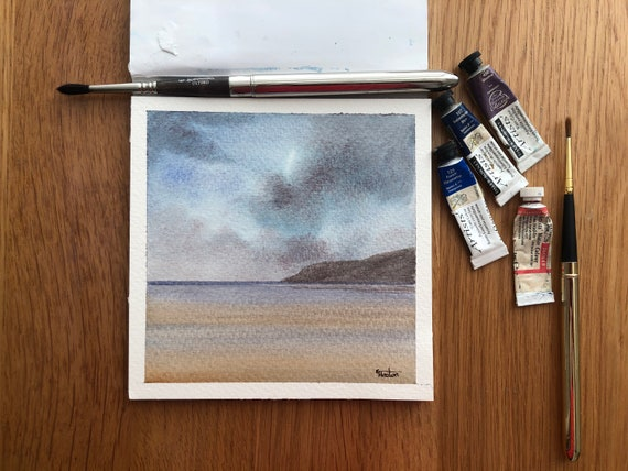 Red Wharf Bay, Anglesey. Square small original watercolour stormy beach painting,  affordable hand painted delicate art watercolor gift,  UK