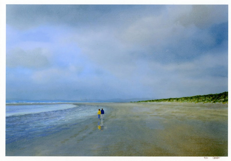 Harlech Beach hand finished in watercolour very limited image 0