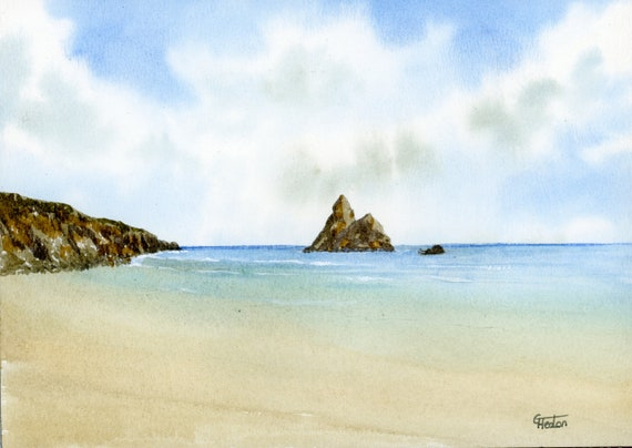 Original small watercolour beach painting, Church Rock, Broad Haven, Pembrokeshire,  original watercolor art, Wales, direct from UK artist