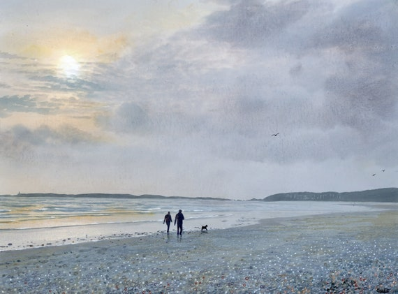 Original watercolour painting 'Afternoon Walk',  couple and dog on Newborough beach, Llanddwyn unique watercolor art direct from UK artist