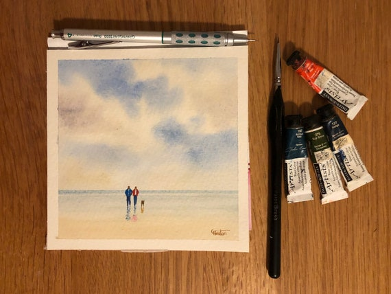 Square small original watercolour beach painting,  Couple and dog on beach,  affordable hand painted delicate watercolor gift,  UK